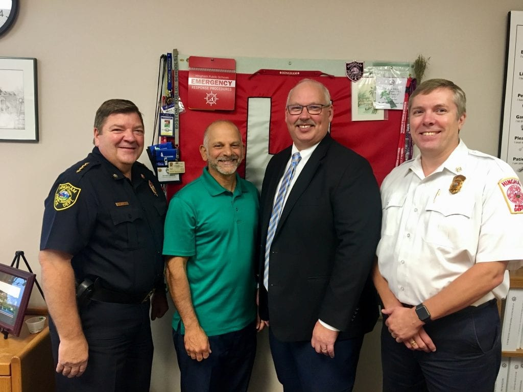 Left to right, Police Chief Glenn Olsson, Hingham Public Schools Director of Business and Support Services John Ferris, new Supt. of Schools Paul Austin, and Fire Chief Steve Murphy.