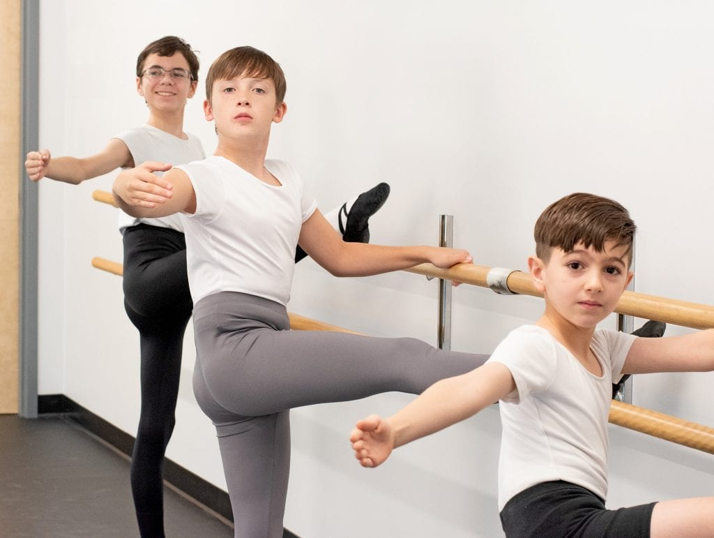 Students participating in a South Shore Ballet Theatre boys' class, courtesy images