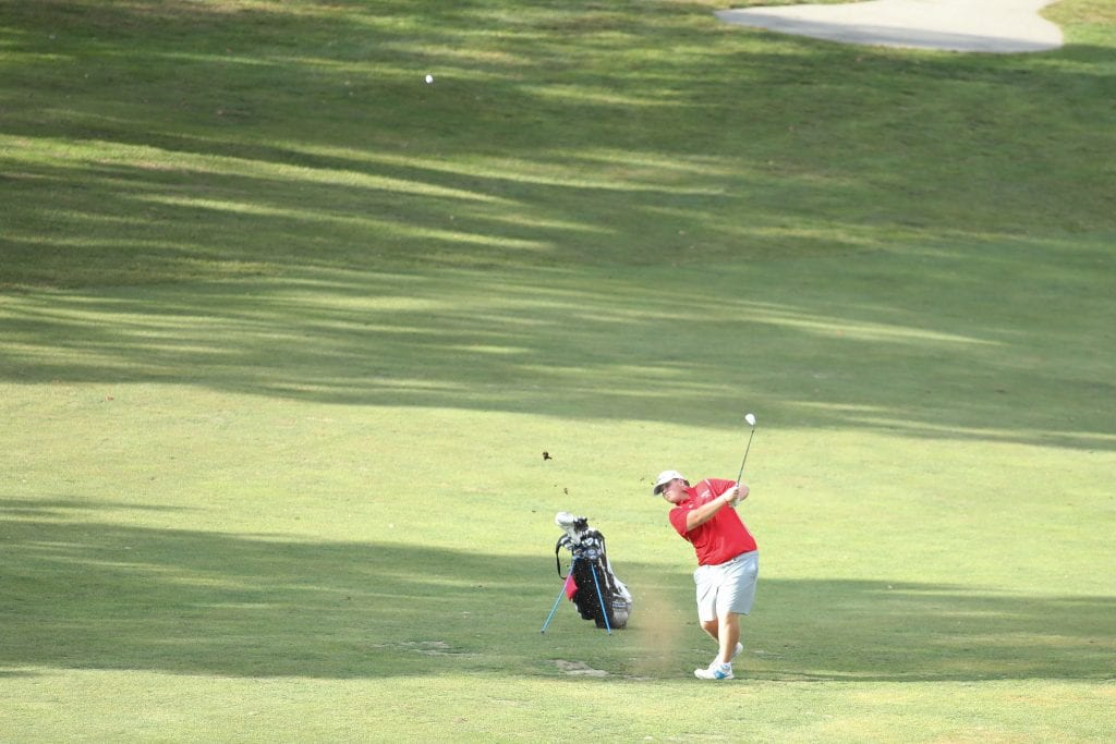 Wilson, with a wedge shot, lands it a few feet from the hole.  Wilson ended up 2 over par with at 38.