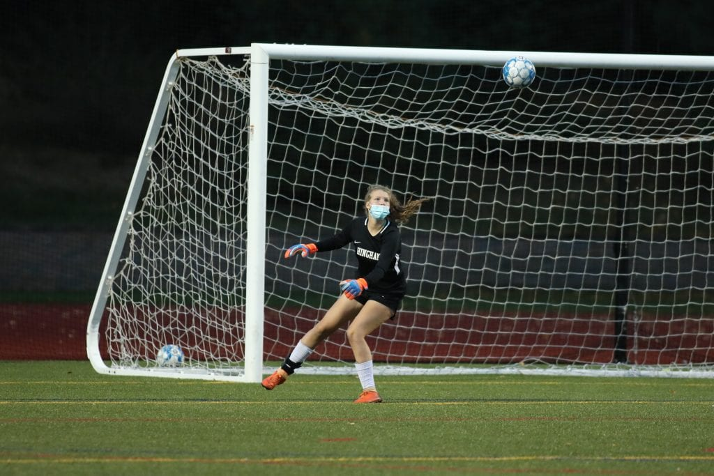 Hingham goalies Niamh McGuiness and Kathryn Wilson (pictured) played great, holding NDA to just one goal.