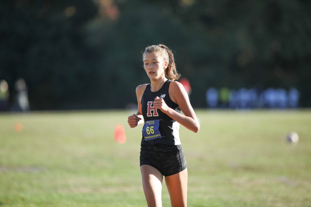 Senior Maeve Lowther finishes in second place with a time of 19:27.