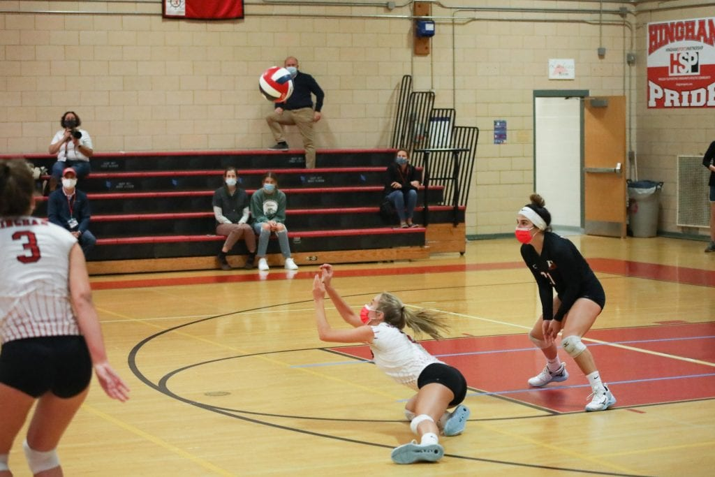 Senior captain Haley McConnell with an impressive dig late in the contest.
