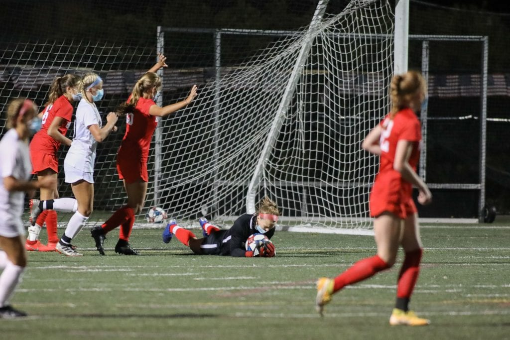 Hingham's Junior Goalie Niamh McGuiness made some timely saves in the first half.