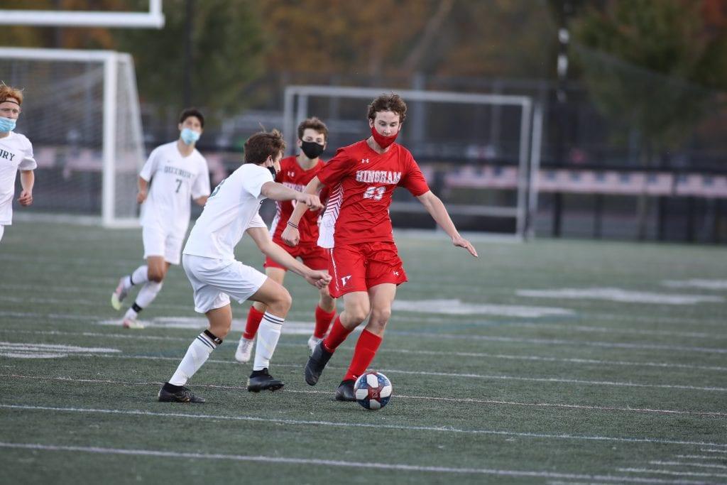 Sophomore Aidan Brazel scores the only goal for the Harbormen.