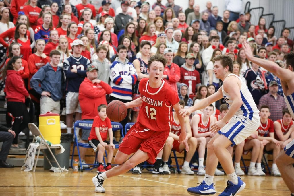 Nick Johannes drives to the basket in one of the last games played in front of crowds last season.
