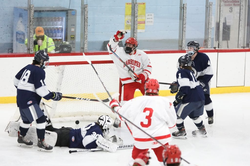 Junior Alex Barzowskas celebrates his second goal of the night, and the second of his career in Hingham's 4-1 win over Plymouth North.