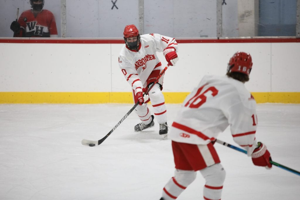 Junior defenseman Drew Carleton was one of two Harbormen recording their first HHS goal yesterday.