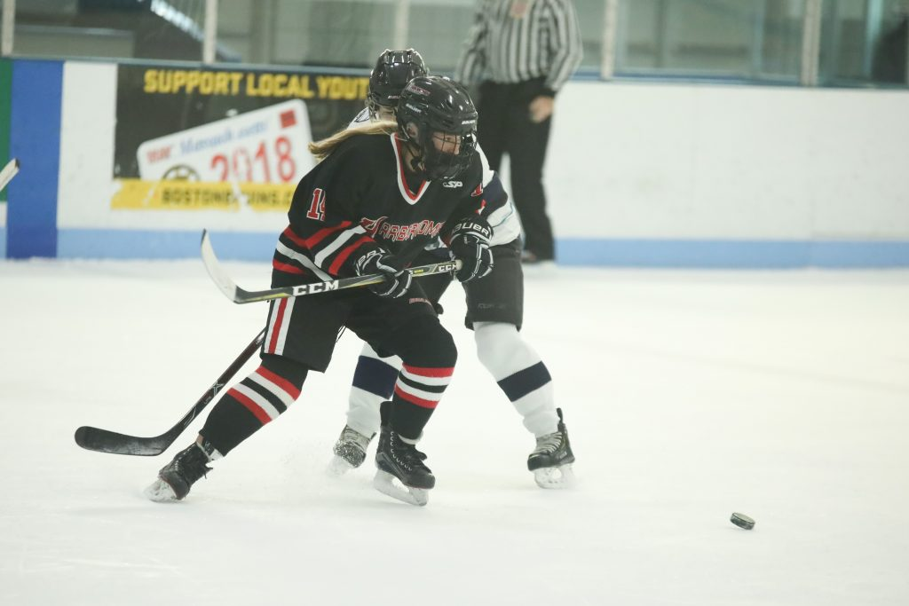 Sophomore defensemen Erin Packard fighting to clear the puck in the third period.