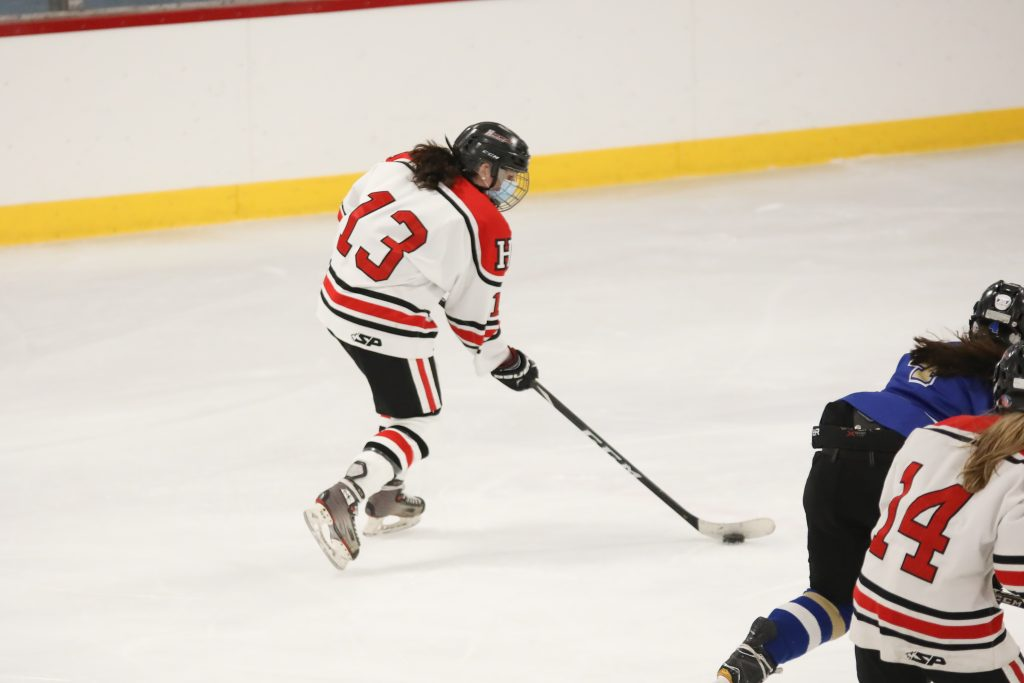 Junior Megan Moynihan looks to get her second goal of the game.