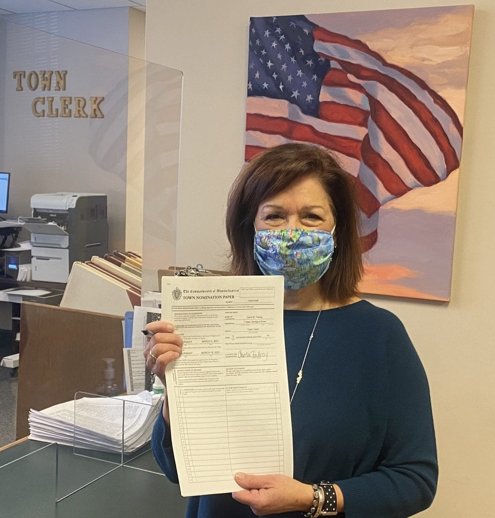 Carol Falvey pulls nomination papers at Hingham Town Hall (photo courtesy of Christine Smith)