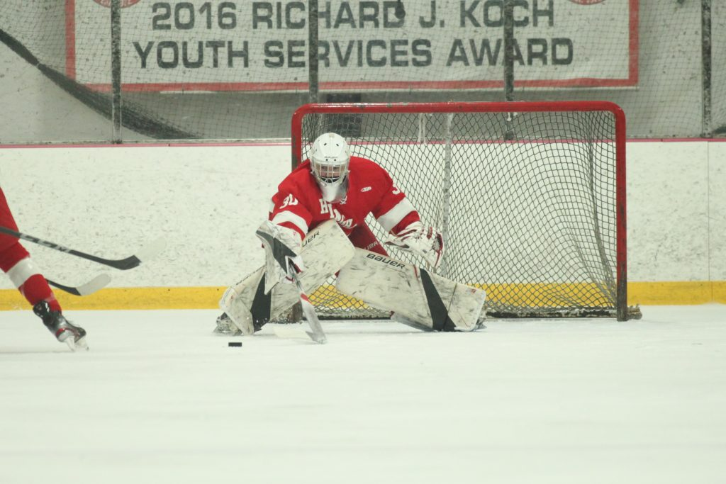 Senior goalie Theo Jacobs was solid in net the whole game.