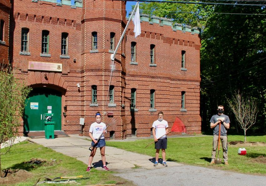Members of the Hingham High School Rowing team assist with Armory spruce-up, including (L-R)  Claire Schnorr (HHS '20, US Naval Academy '24), Ryan Mulflur (HHS '20, Hobart College '24) and Reed Schilb (HHS '19, US Naval Academy '23).