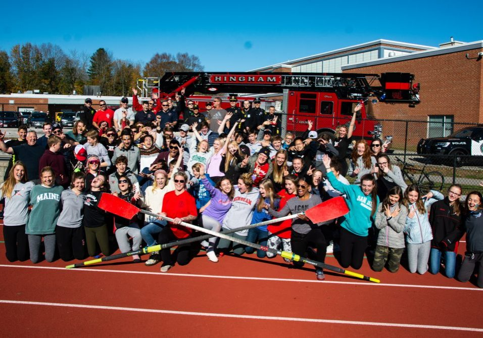 xHingham Police, Fire and HHS Crew celebrate after the erg relay race