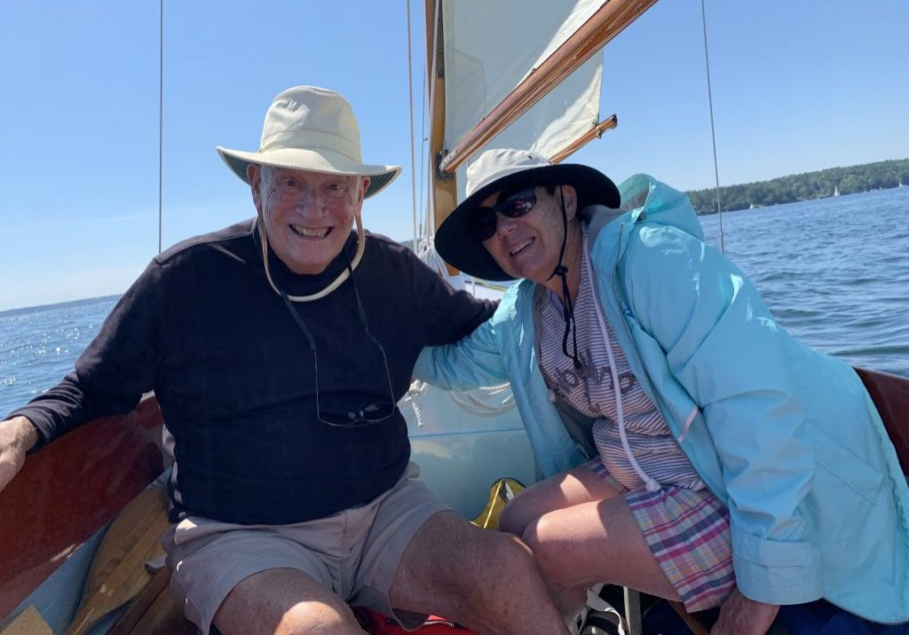 Nick and his wife, Marty, sailing in Maine; photo provided by Nick Amdur.