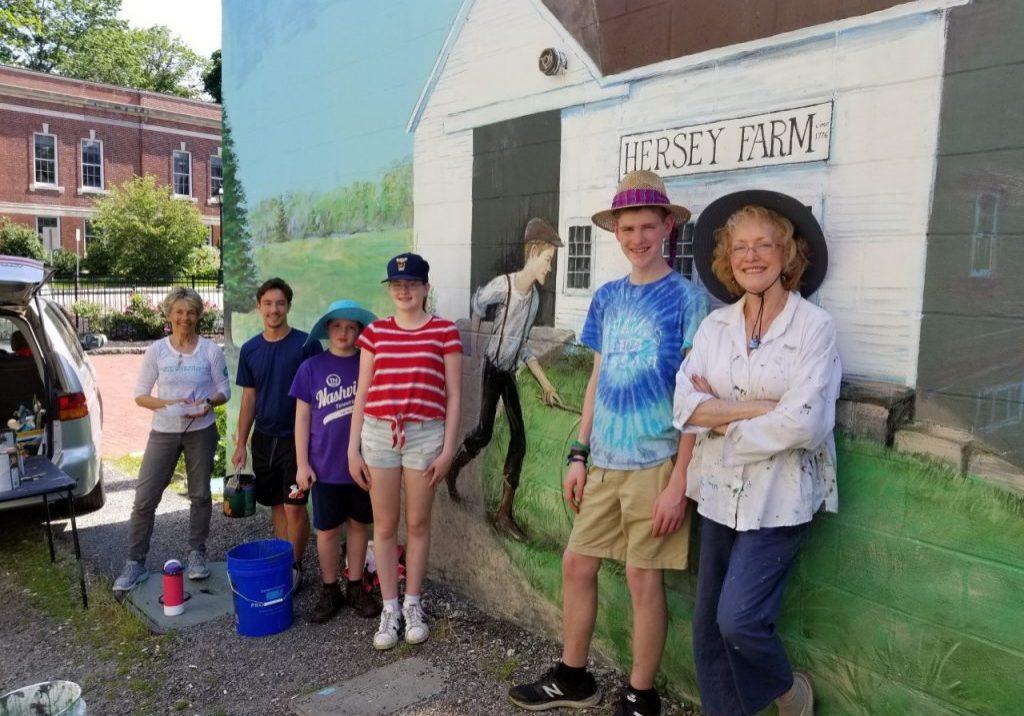 Marianne Buckley-Curran,  South Shore Charter School teacher; Jackson Carroll, Hingham High student; Brendan, Maren, and Adam Saich from Londonderry, NH, Susan Kilmartin, local artist