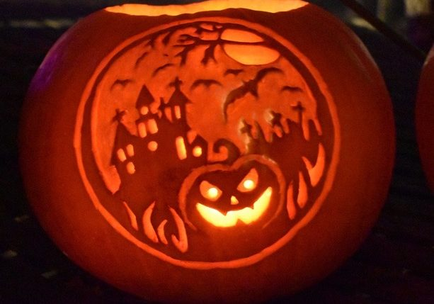 One of the ingeniously designed jack-o-lanterns headed for the trail display at the New England Wildlife Center.